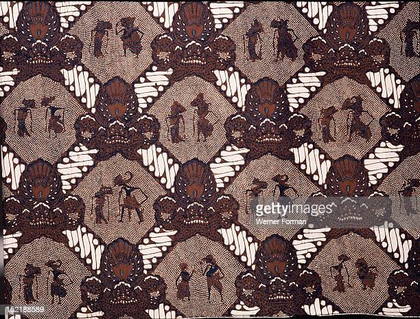 Detail of a batik pattern that was worn by the brother of a bridegroom at the second stage of a wedding It is an old court design with pairs of...