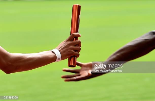 Detail of a baton change during Mens 4x100m race in the IAAF Diamond League Muller Anniversary Games at The Queen Elizabeth Olympic Park on July 22...