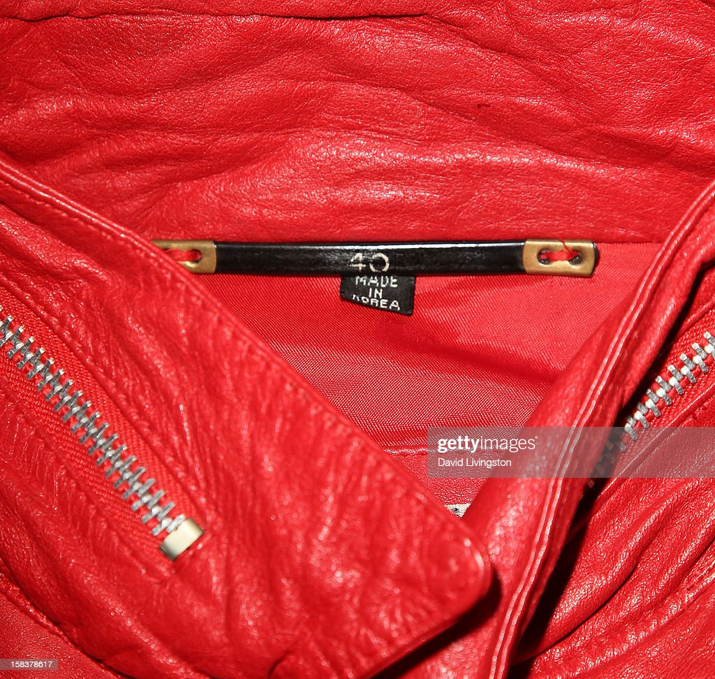 Detail of a 'Beat It' jacket worn by recording artist Michael Jackson is displayed at Nate D. Sanders media preview for Michael Jackson's 1980's iconic stage-worn items on December 14, 2012 in Los Angeles, California.