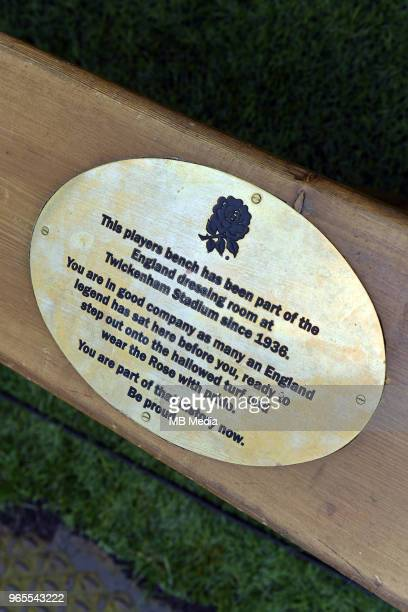A detail of a bench before the Quilter Cup match between England and Barbarians at Twickenham Stadium on May 27 2018 in London England