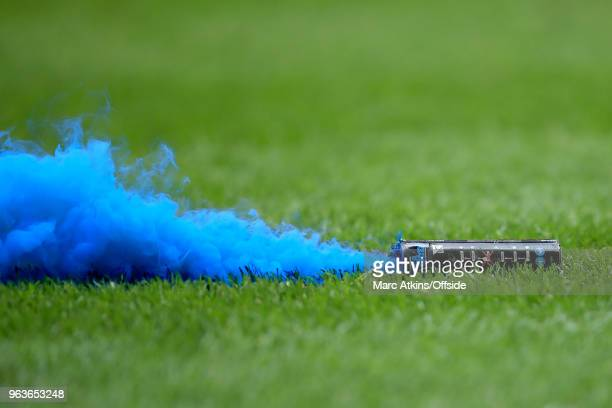 Detail of a blue smoke bomb during the Sky Bet League Two Play Off Final between Coventry City and Exeter City at Wembley Stadium on May 28 2018 in...