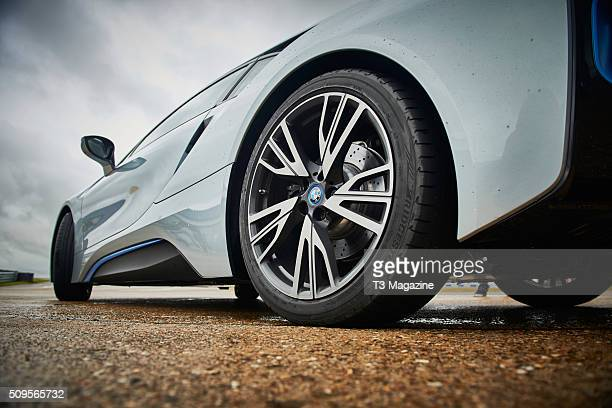 Detail of a BMW i8 hybrid sports car at Bedford Autodrome Circuit in Bedfordshire taken on July 13 2015