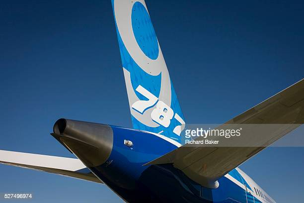 Detail of a Boeing 7879 Dreamliner jet airliner tailplane at the Farnborough Air Show England The Boeing 7879 Dreamliner is the second member of the...