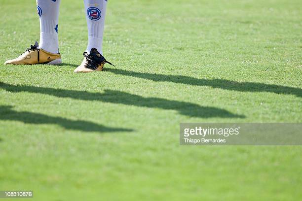 Detail of a boot of a player of Bahia during a match against Flamengo as part of the Sao Paulo Juniors Cup 2011 at Pacaembu stadium on January 25...