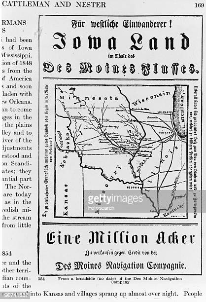Detail of a broadside of the Des Moines Navigation Company showing an advertisement for land in Iowa for sale USA date unknown