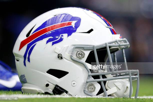 Detail of a Buffalo Bills helmet before the AFC Wild Card Playoff game against the Houston Texans and the at NRG Stadium on January 04, 2020 in...