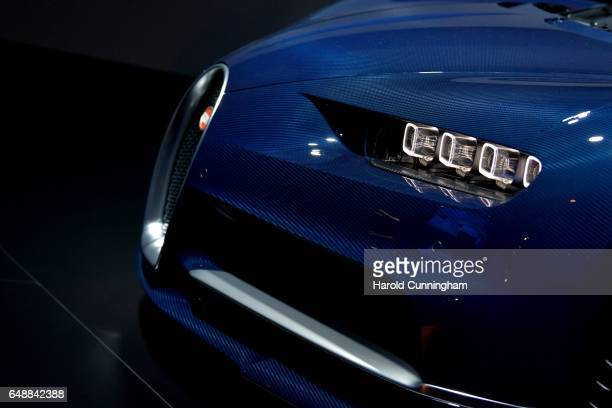 A detail of a Bugatti Chiron is seen during the Volkswagen Group Shaping The Future / Create Innovation event ahead of the 87th Geneva International...