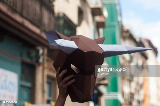 Detail of a bull mask during the protest of the PETA collective in the Plaza del Ayuntamiento in Pamplona on the occasion of the San Fermin festival...