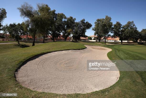 Detail of a bunker off the seventh green during the second round of the Outlaw Tour Arrowhead Classic at Arrowhead Country Club on April 14, 2020 in...