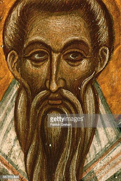 Detail of a Byzantine Fresco Painting of a Bearded Male Saint