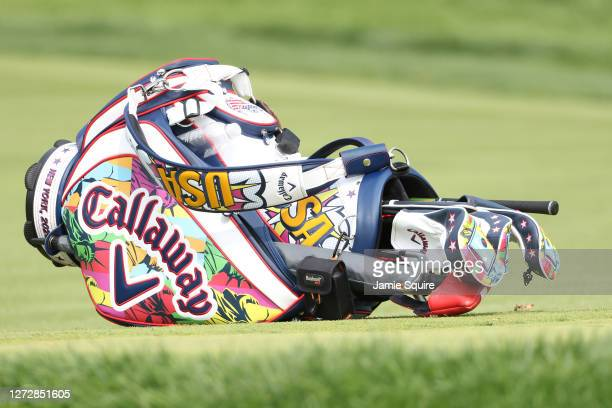 Detail of a Callaway staff bag during a practice round prior to the 120th U.S. Open Championship on September 16, 2020 at Winged Foot Golf Club in...