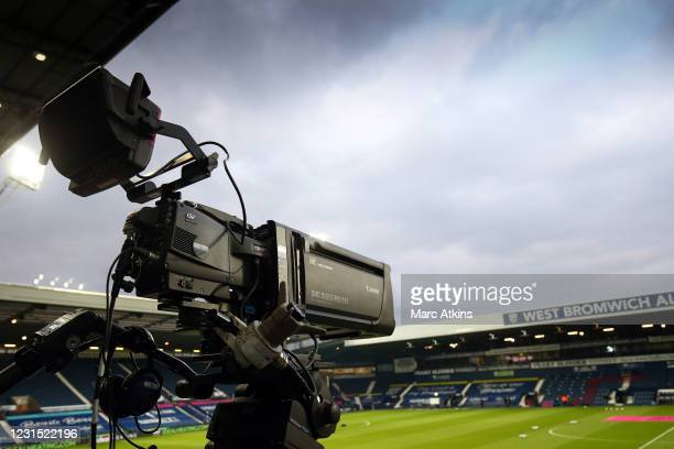 Detail of a Canon television camera during the Premier League match between West Bromwich Albion and Everton at The Hawthorns on March 4, 2021 in...