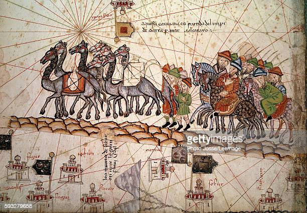 Detail of a Catalan nautical map representing the Asia of the 13th century with a caravan on the way to Cathay the silk road crossed by Marco Polo...