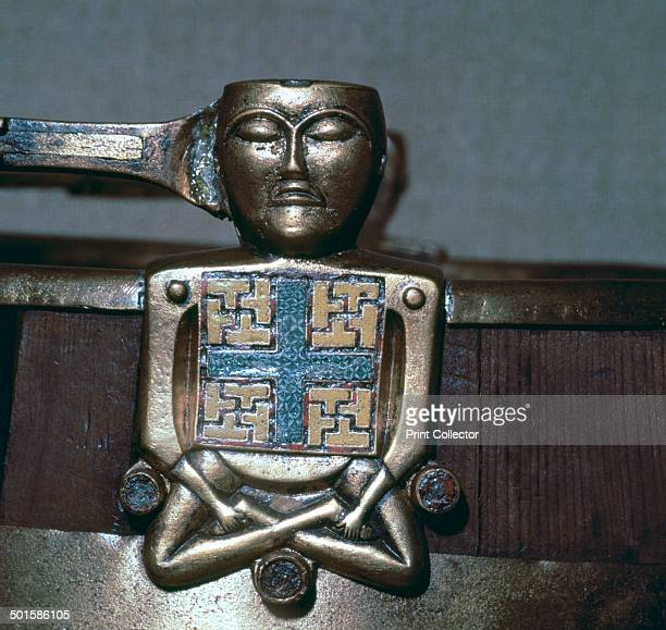 Detail of a Celtic figure on a bucket handle from the Oseburg Ship burial in Norway It appears to be Irish from a Viking raid Now at the Viking Ships...