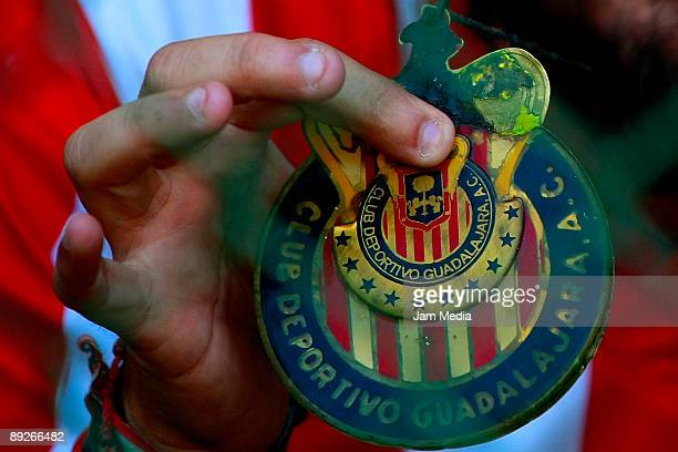 Detail of a Chivas' shield during the match against Toluca in the 2009 Opening tournament the closing stage of the Mexican Football League at the...
