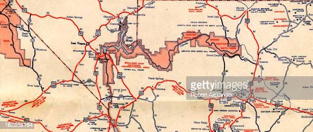 Detail of a circa 1950 Mobilgas folding roadmap of California Nevada Arizona and Utah showing the Grand Canyon and Route 66 through Arizona...