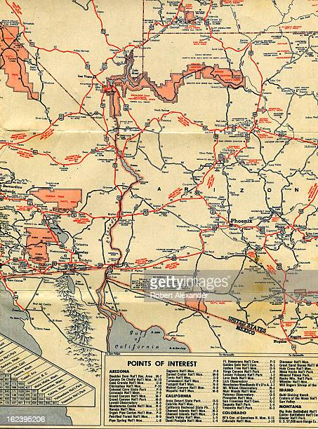Detail of a circa 1950 Mobilgas folding roadmap of California Nevada Arizona and Utah 5104602RA_Alexander48jpg