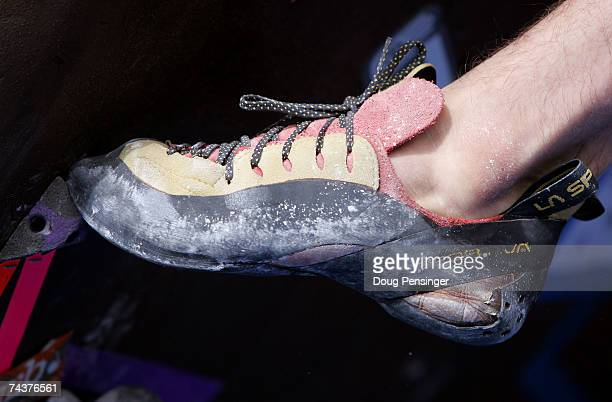 Detail of a climber's foot as they climb during the Pro Bouldering Qualifier during The Teva Mountain Games on June 1, 2007 in Vail, Colorado.