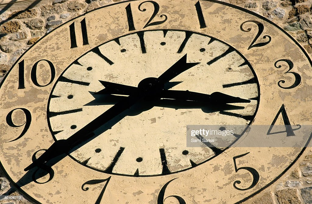 Detail of a clock tower, Provence, France : Stock Photo
