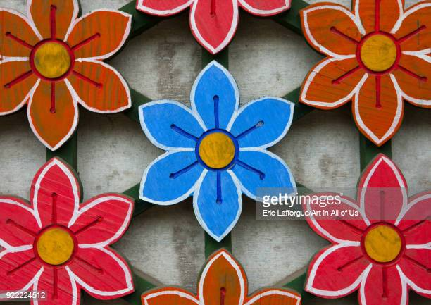 Detail of a colorful flowers on the door of Kwangbok temple Pyongan Province Pyongyang North Korea on May 21 2009 in Pyongyang North Korea