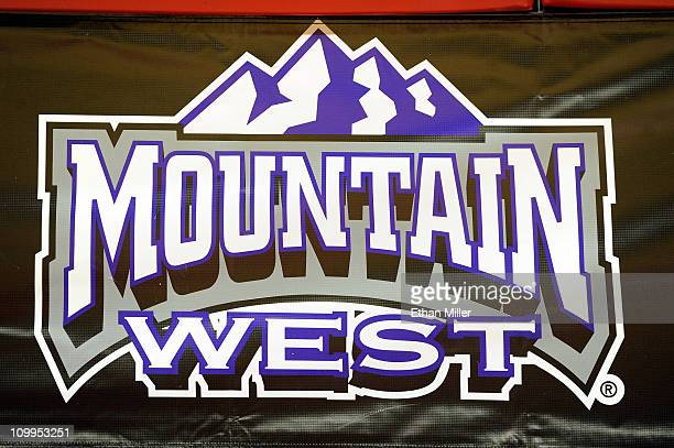 A detail of a conference logo is seen after the UNLV Rebels defeated the Air Force Falcons 6953 in a quarterfinal game of the Conoco Mountain West...