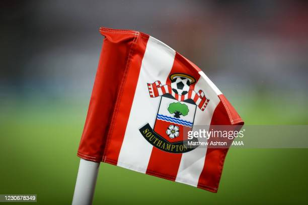 Detail of a corner flag at St Marys Stadium, home stadium of Southampton with a Southampton emblem on during the FA Cup Third Round match between...