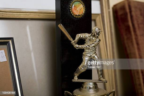 Detail of a cricket trophy