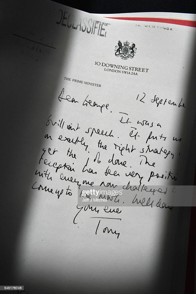 Detail of a declassified handwritten letter sent by the then British Prime Minister Tony Blair, to George Bush, former President of the United States, is seen as part of the Iraq Inquiry Report presented by Sir John Chilcot at the Queen Elizabeth II Centre in Westminster on July 6, 2016 in London, England. The Iraq Inquiry Report into the UK government's involvement in the 2003 Iraq War under the leadership of Tony Blair is published today. The inquiry, which concluded in February 2011, was announced by then Prime Minister Gordon Brown in 2009 and is published more than seven years later.