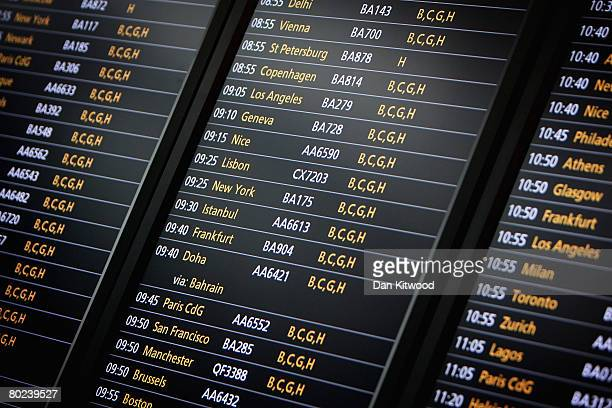 Detail of a departure board in the new Terminal 5 at Heathrow Airport prior to its official opening on March 14 2008 in London England