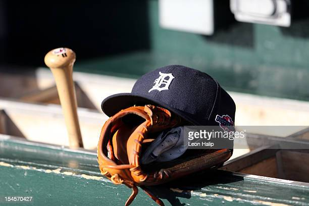 A detail of a Detroit Tigers hat with an official postseason logo is seen on the bat rack in the udgout againstthe New York Yankees during game four...