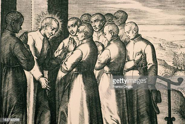 ROME ITALY A detail of a drawing featuring the founding group of Jesuits meeting in Paris among them Saint Ignatius of Loyola founder of the society...