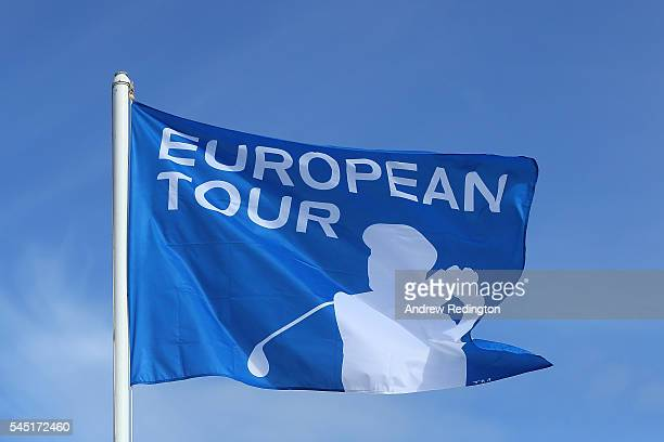 Detail of a European Tour flag during a proam round ahead of the AAM Scottish Open at Castle Stuart Golf Links on July 6 2016 in Inverness Scotland
