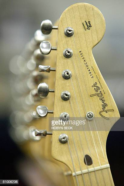 A detail of a Fender Stratocaster guitar at the Fender manufacturing facility in Corona California 28 June 2004 The sainted grandfather of electric...