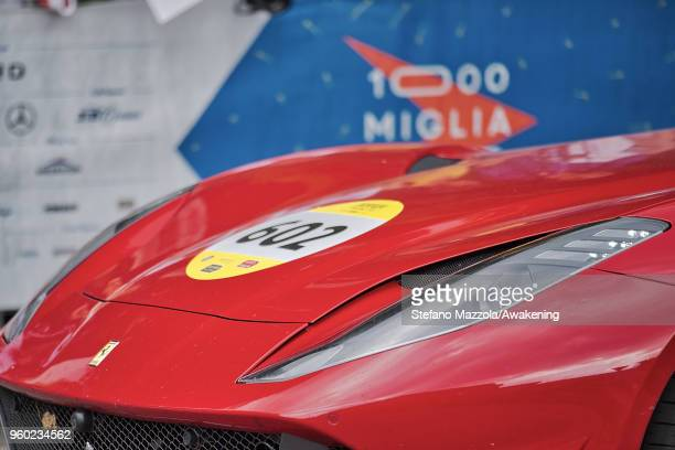A detail of a Ferrari on May 19 2018 in Brescia Italy the 2018 edition of Mille Miglia hosts 467 participants and will run from 16 to 19 May