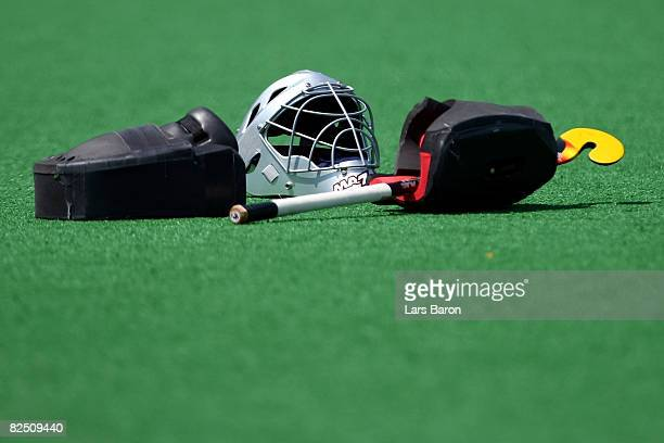 A detail of a field hockey goalkeeper's gear after the women's classification hockey match at the Olympic Green Hockey Field on Day 14 of the Beijing...