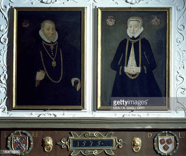 Detail of a fireplace with the portraits of Jørgen Rosenkrantz and his wife Great Hall Rosenholm Castle Jutland Denmark