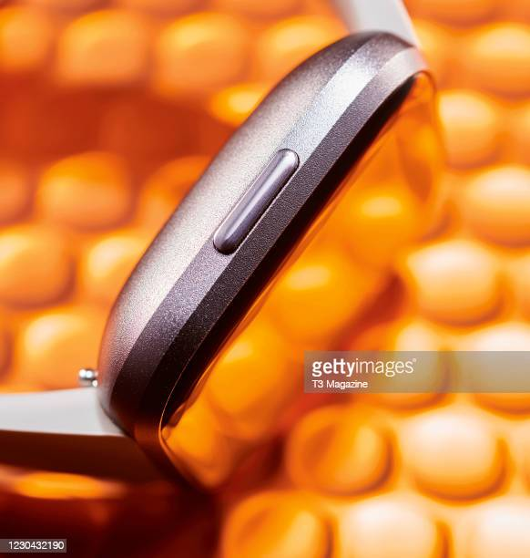 Detail of a Fitbit Versa 2 smartwatch, taken on March 11, 2020.