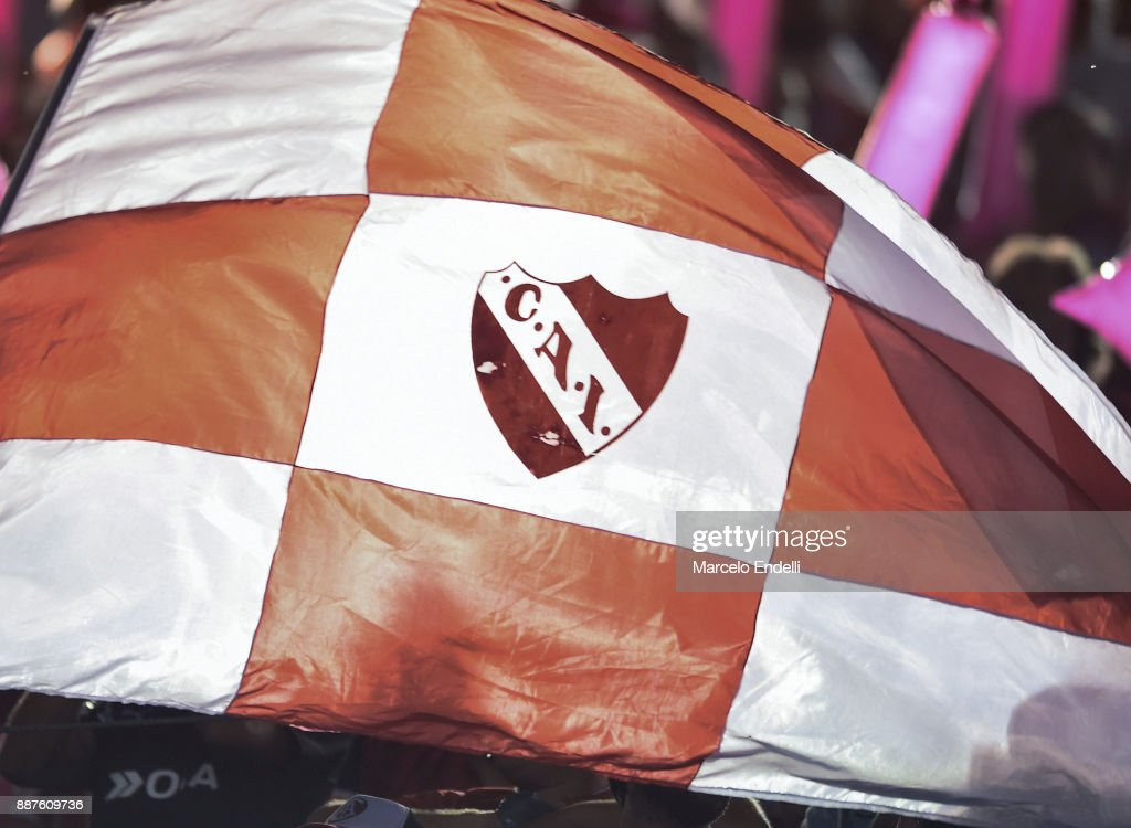 Detail of a flag of Independiente before the first leg of the Copa Sudamericana 2017 final between Independiente and Flamengo at Estadio Libertadores de America on December 6, 2017 in Avellaneda, Argentina.