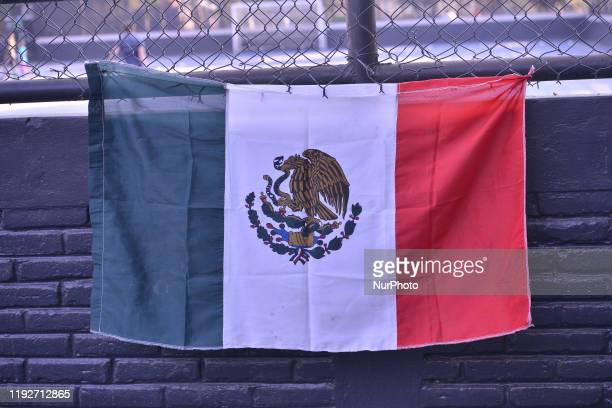Detail of a flag of Mexico is seen playing in a park on January 8, 2020 in Mexico City, Mexico