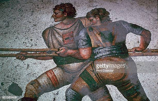 Detail of a floor mosaic in the Great Palace in Istanbul showing hunters probably from the reign of Justin II 6th century