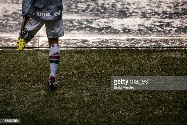 Detail of a Fluminense player during a match between Fluminense and Audax Rio as part of Carioca Championship 2013 at Engenhao Stadium on March 17,...