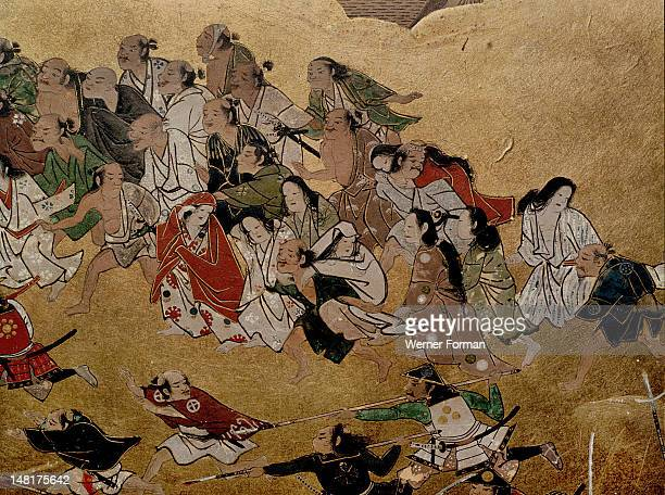 Detail of a folding screen which depicts the siege of Osaka Castle Japan 1568 1623
