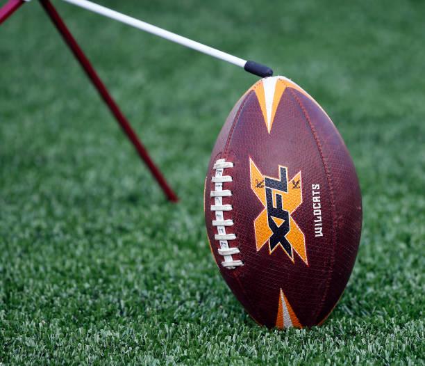Detail of a football as the LA Wildcats play the Houston Roughnecks at TDECU Stadium on February 08 2020 in Houston Texas