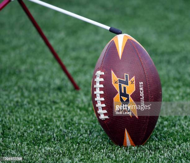 Detail of a football as the LA Wildcats play the Houston Roughnecks at TDECU Stadium on February 08 2020 in Houston Texas