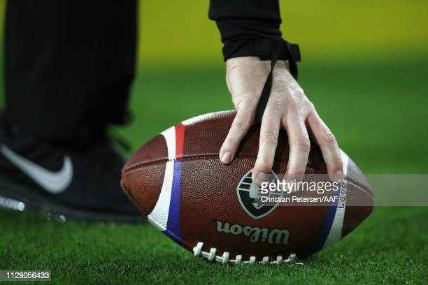 Detail of a football during the Alliance of American Football game between the Arizona Hotshots and the Salt Lake Stallions at Sun Devil Stadium on...