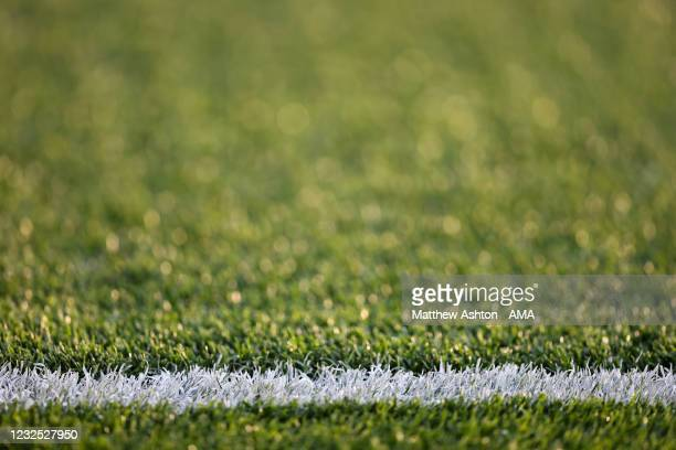 Detail of a football pitch white line marking during the Premier League match between Aston Villa and West Bromwich Albion at Villa Park on April 25,...