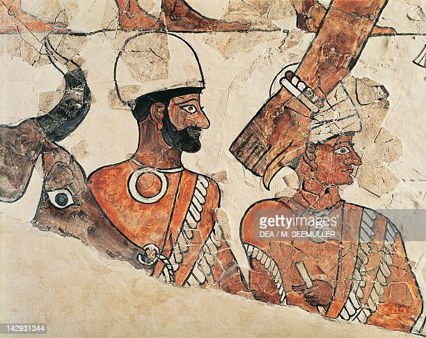 Detail of a fresco depicting a sacrifice from the Palace of Zimrilin from Mari archeological site Syria Assyrian civilisation 18th Century BC Paris...
