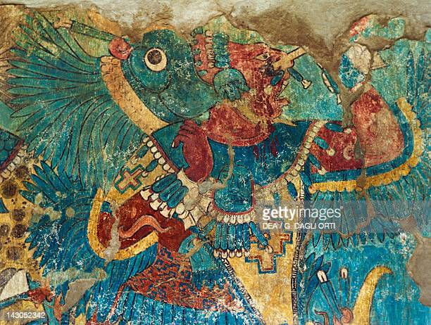 Detail of a fresco depicting a warrior From the archaeological site in Cacaxtla PreColombian Civilization 9th Century Cacaxtla Archaeological Site...
