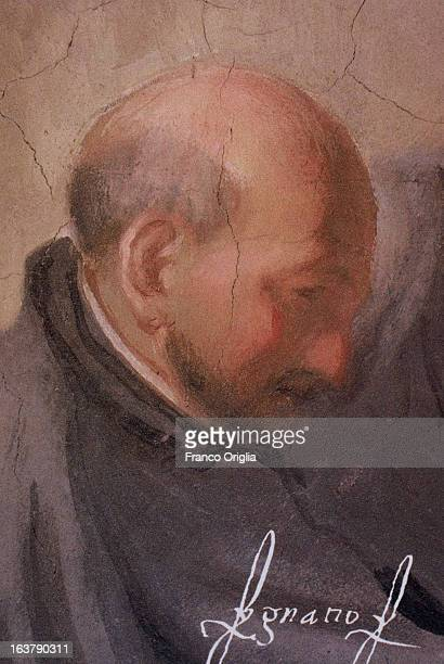 ROME ITALY A detail of a fresco portraying Saint Ignatius of Loyola founder of the Jesuits is shown at the Jesuit General Curia in Rome Italy The...