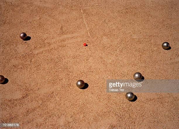 Detail of a game of bocce,  Melbourne, Victoria, Australia